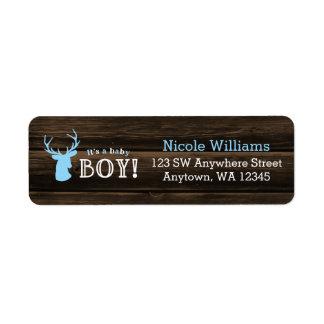 Baby shower bleu en bois rustique de garçon de étiquettes d'adresse retour