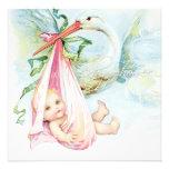 Baby shower bleu et rose turquoise de cigogne invitations personnalisables