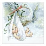 Baby shower bleu turquoise de cigogne faire-part personnalisés