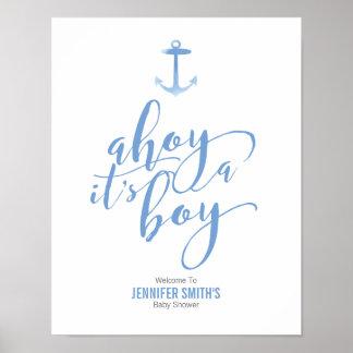 Baby shower bleu Welcom d'ancre nautique Poster