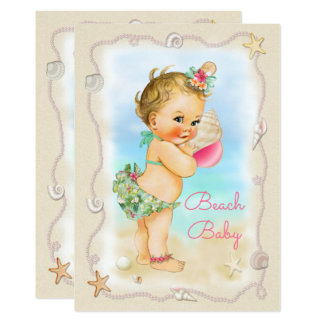 Baby shower blond de Shell de conque de bébé de Carton D'invitation 12,7 Cm X 17,78 Cm