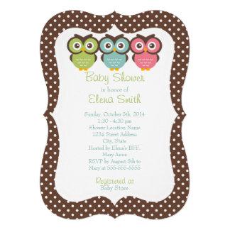 Baby shower coloré de point de polka de hiboux cartons d'invitation personnalisés