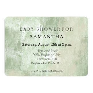 Baby shower crème vert d'abrégé sur sable de plage carton d'invitation  12,7 cm x 17,78 cm