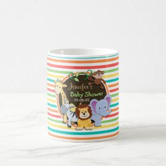 Baby shower d animaux de zoo rayures lumineuses mug à café