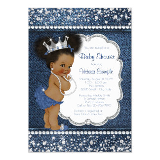 Baby shower d'Afro-américain de filles de diamant Carton D'invitation 12,7 Cm X 17,78 Cm