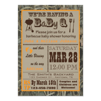 Baby shower de BabyQ de barbecue de Camo Carton D'invitation 12,7 Cm X 17,78 Cm