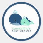 Baby shower de baleine de maman et de bébé {vert} sticker rond