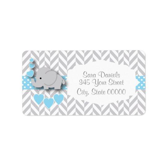 Baby shower de bleu layette, blanc et gris étiquette d'adresse