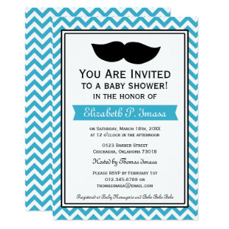 Baby shower de Chevron de moustache d'Aqua Carton D'invitation 12,7 Cm X 17,78 Cm