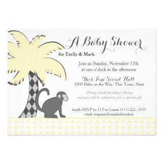 Baby shower de chimpanzé et de palmier invitations personnalisées