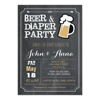 Baby shower de couples de bière et de carton d'invitation  12,7 cm x 17,78 cm