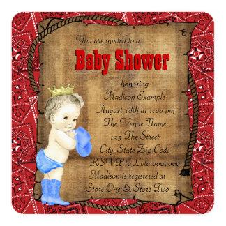 Baby shower de cowboy de garçons carton d'invitation  13,33 cm