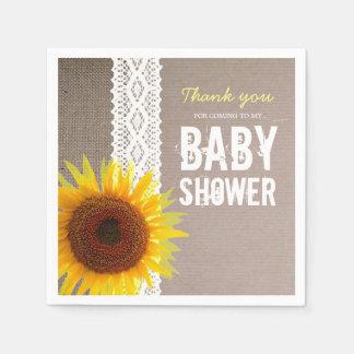 Baby shower de dentelle de toile de jute et de serviette jetable