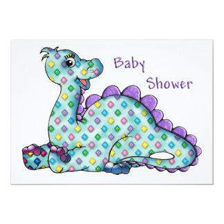 Baby shower de Dino de diamant de bébé Carton D'invitation 12,7 Cm X 17,78 Cm