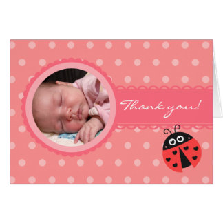 Baby shower de fille - carte de remerciements de