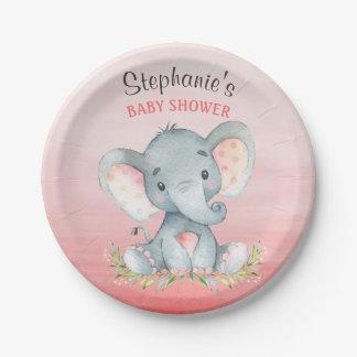 Baby shower de fille d'éléphant d'aquarelle assiettes en papier