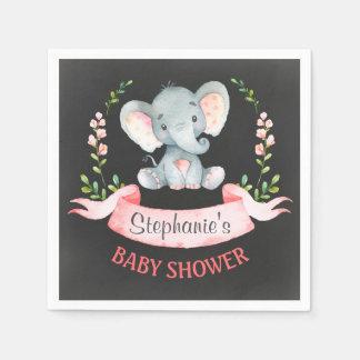 Baby shower de fille d'éléphant d'aquarelle de serviettes jetables