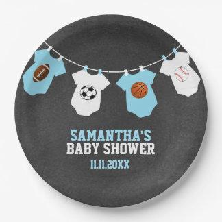 Baby shower de garçon bleu de tableau de thème de assiettes en papier