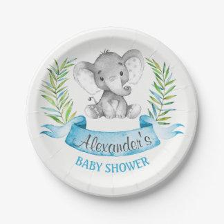 Baby shower de garçon d'éléphant d'aquarelle assiettes en papier