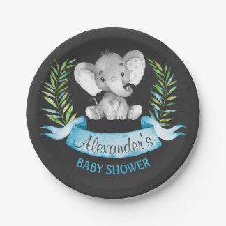 Baby shower de garçon d'éléphant d'aquarelle de assiettes en papier