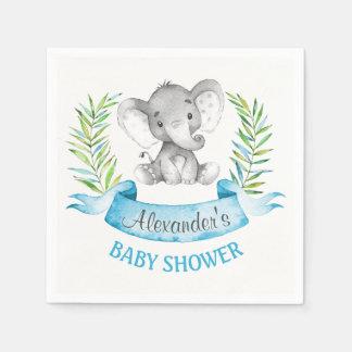 Baby shower de garçon d'éléphant d'aquarelle serviette jetable