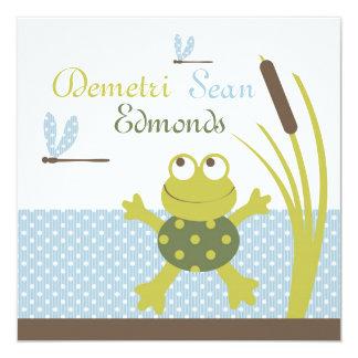 Baby shower de grenouille et de libellule de carton d'invitation  13,33 cm