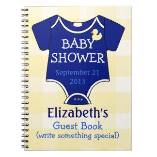 Baby shower de guingan de bleu royal et de jaune carnets à spirale