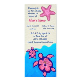 Baby shower de Honu de fille Carton D'invitation 10,16 Cm X 23,49 Cm
