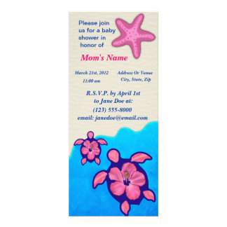 Baby shower de Honu de fille Cartons D'invitation