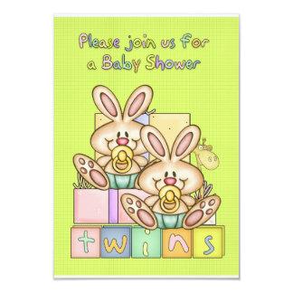 Baby shower de jumeaux - carte de baby shower pour carton d'invitation 8,89 cm x 12,70 cm