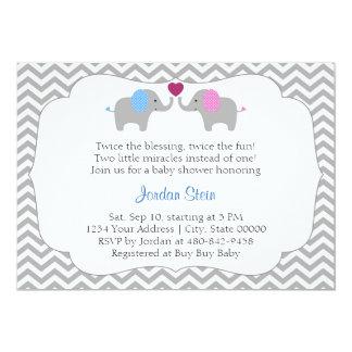Baby shower de jumeaux de garçon et de fille carton d'invitation  12,7 cm x 17,78 cm