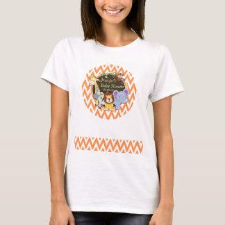 Baby shower de jungle ; Chevron orange et blanc T-shirt
