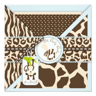 Baby shower de jungle de safari de tétine de singe carton d'invitation  13,33 cm