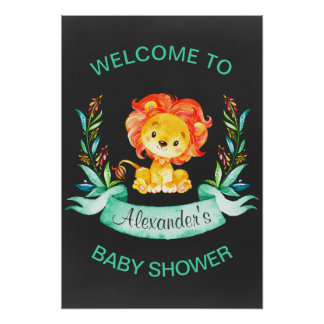 Baby shower de lion d'aquarelle de tableau