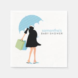 Baby shower de maman de parapluie {bleu} serviette jetable