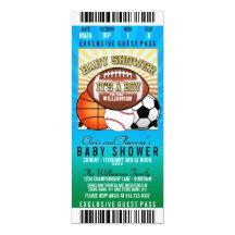 Baby shower de partie de thème de sports carton d'invitation  10,16 cm x 23,49 cm