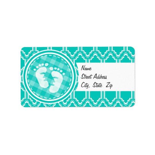 Baby shower de pieds de bébé de turquoise d'Aqua Étiquette D'adresse
