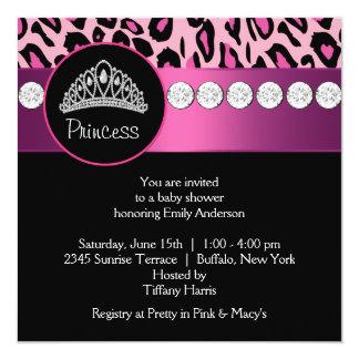 Baby shower de princesse Girl de léopard de roses Carton D'invitation 13,33 Cm