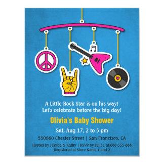 Baby shower de rock de guitare de musique de paix carton d'invitation 10,79 cm x 13,97 cm
