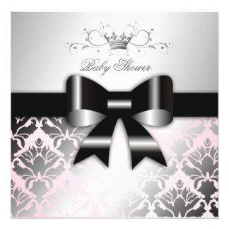 baby shower de rose d arc de noir du miroitement 3 invitation personnalisée