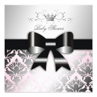 baby shower de rose d'arc de noir du miroitement 3 invitation personnalisée