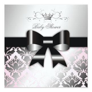 baby shower de rose d'arc de noir du miroitement invitation personnalisée