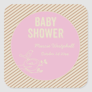 Baby shower de rose de nid d'oiseau sticker carré