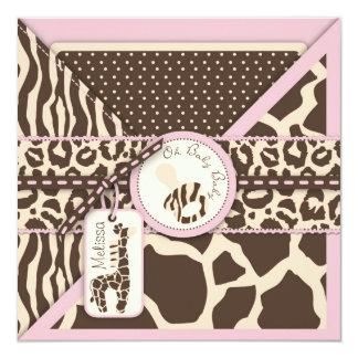 Baby shower de rose de safari de girafe carton d'invitation  13,33 cm