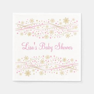 Baby shower de rose et de flocon de neige de serviette jetable