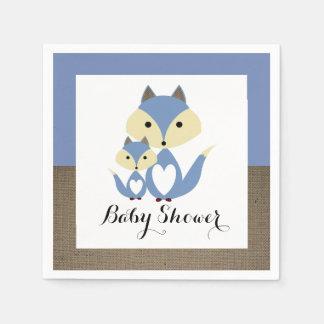 Baby shower de toile de jute de Fox bleu Serviette Jetable
