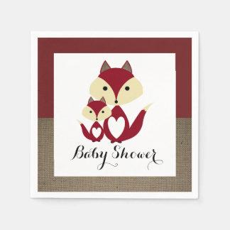 Baby shower de toile de jute de Fox rouge Serviette En Papier