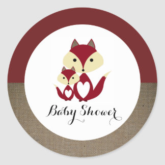 Baby shower de toile de jute de Fox rouge Sticker Rond