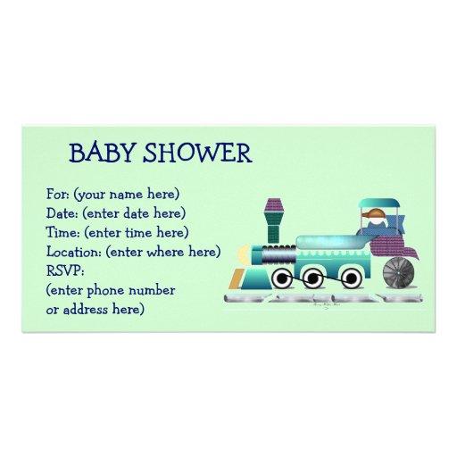 Baby shower de train d'appel d'appel photocarte customisée