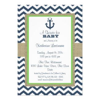 Baby shower de zigzag de bleu marine d ancre invitations